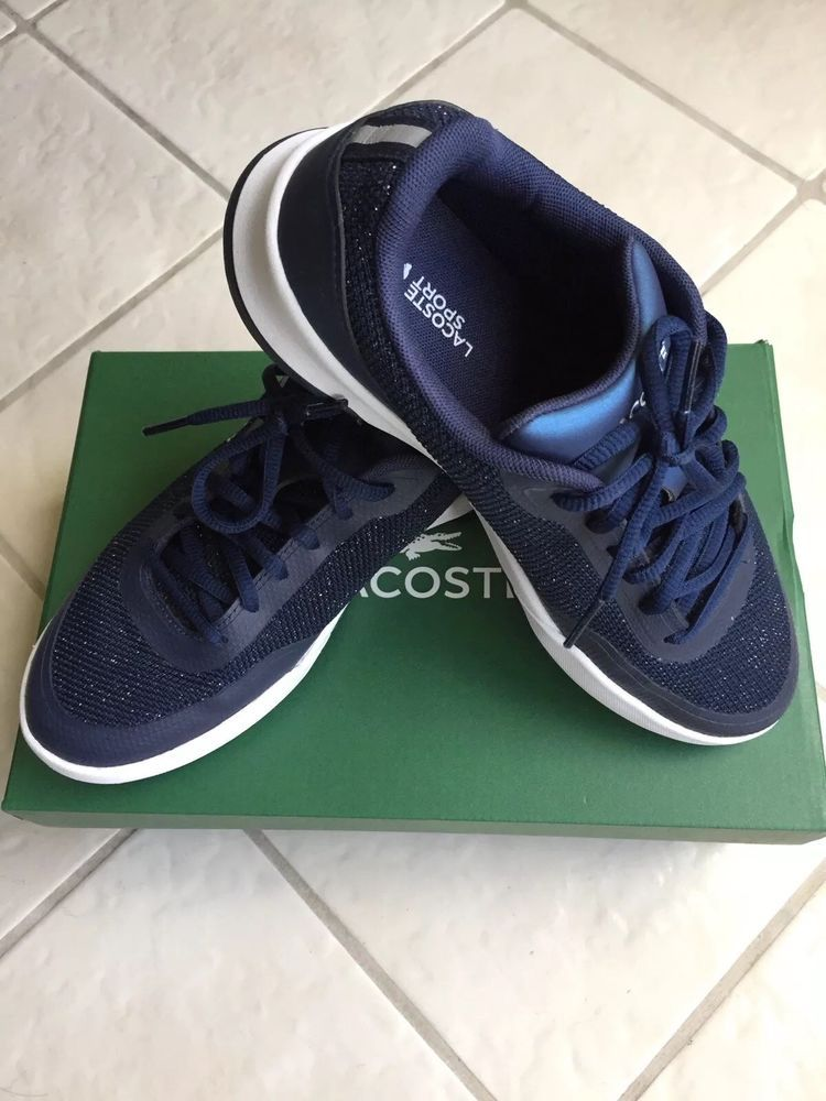 fe5d15d2bde Lacoste Womens Size 7 Tennis Shoes Walking Sports Navy Blue Glitter   fashion  clothing