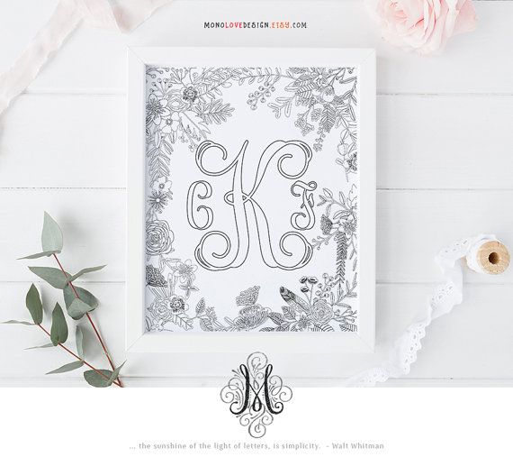 Printable Coloring Page Wedding Monogram Family Crest Name Initial Art  Design Wall Art Floral Alphabet Art
