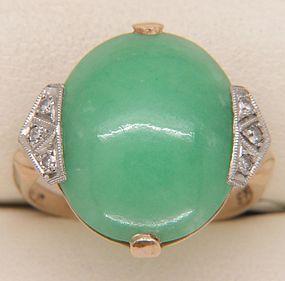 14ct Gold & Platinum ART DECO Jade & Diamond Ring