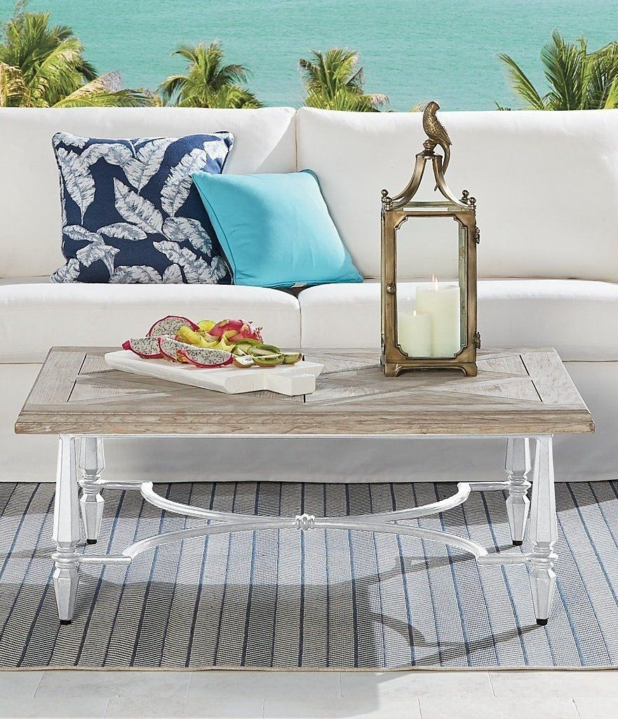 Avery Teak Top Coffee Table in White Finish | Frontgate in ...