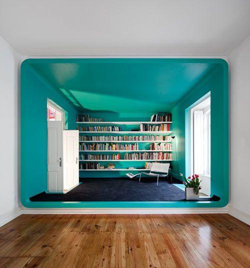 Blue study room.