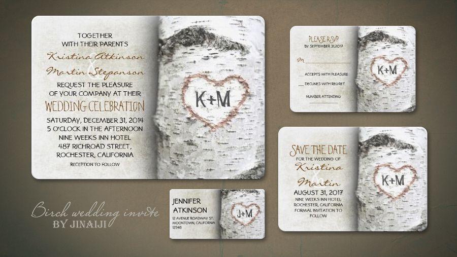read more – rustic wedding invitation with birch tree | wedding, Wedding invitations