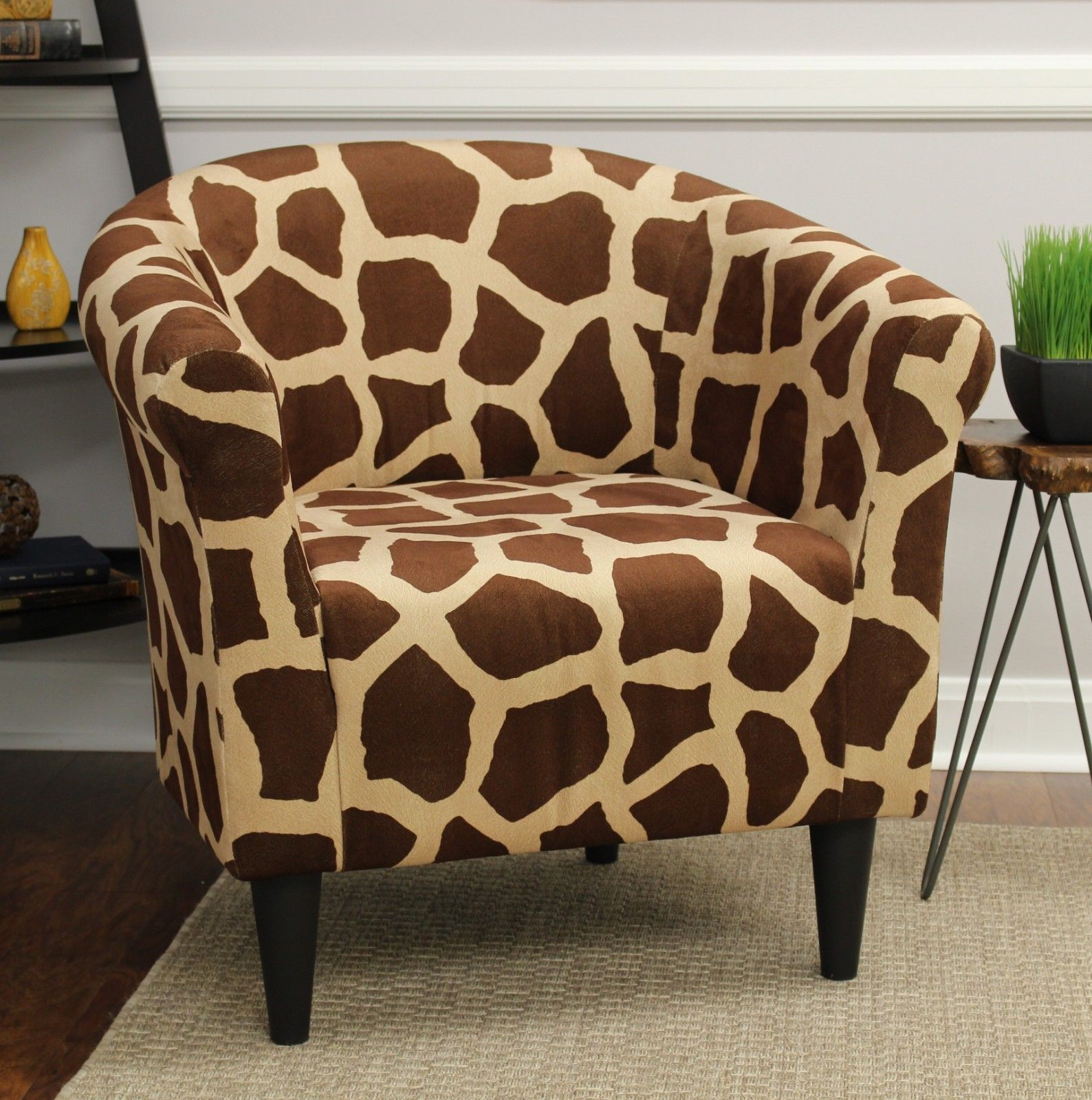 Lightweight Classic Animal Printed Fabric Bucket Accent Chair Deep Padded Seat Chair Bedroom Accent Chairs For Living Room Upholstered Chairs Accent Chairs
