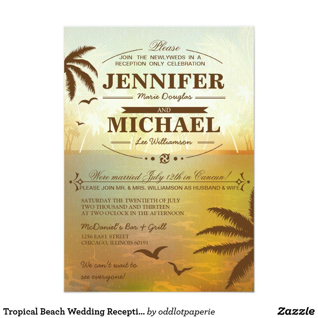 Tropical Beach Wedding Reception Only  Invitations