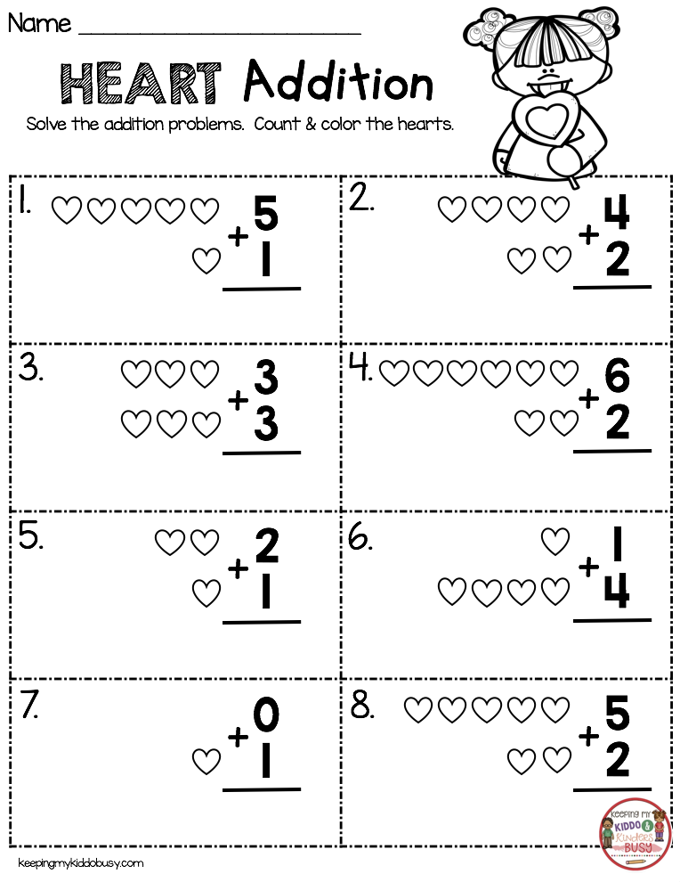 February Math Ela Pack Freebies Keeping My Kiddo Busy Kindergarten Addition Worksheets Addition Kindergarten Kindergarten Valentines