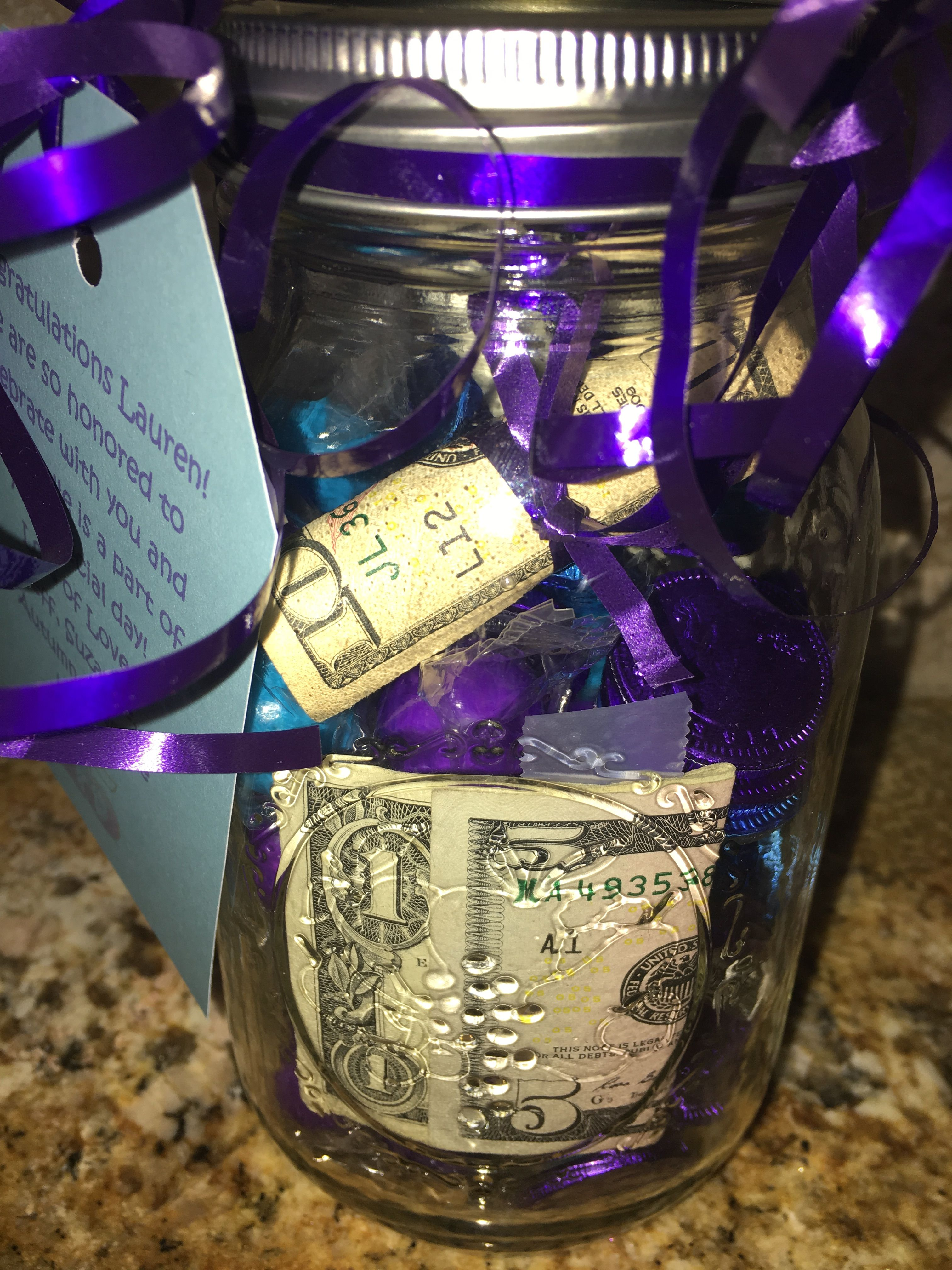 a cute way to give money for a quinceanera gift i filled a mason