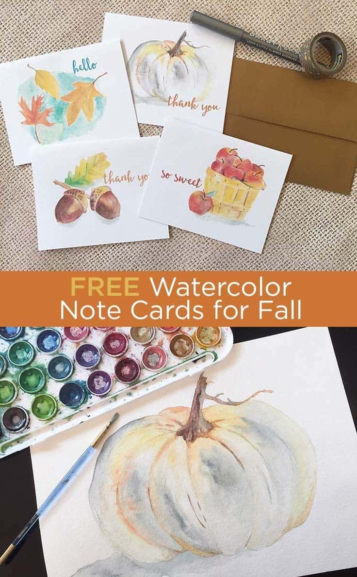Free Fall Watercolor Note Cards Printable Greeting Cards Note