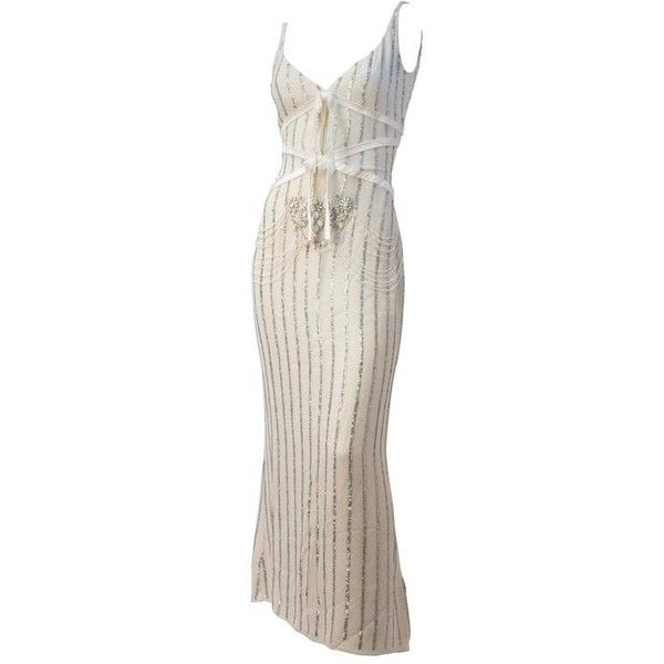 Preowned 90s Badgley Mischka Cream Silk Chiffon Embellished Gown ...