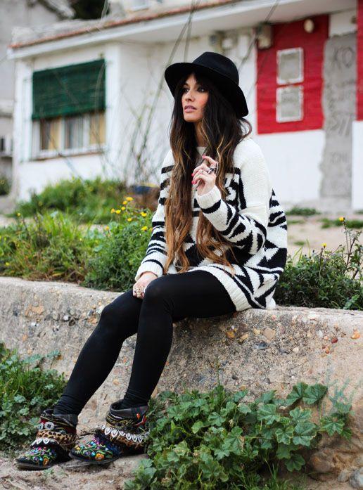 Mango Zara Boots 11313 Sendra Hat Berskha Leggings Sweater T6cqSAw