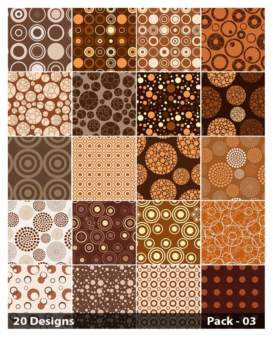 20 Brown Circle Pattern Background Vector Pack 03 Vector