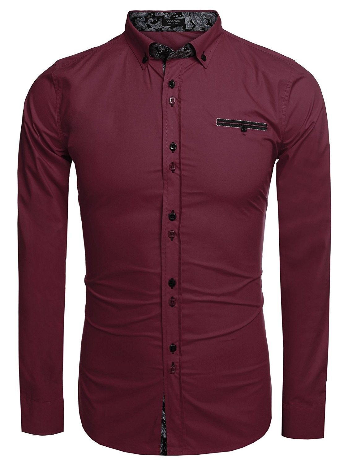 Men's Business Casual Long Sleeve Patchwork Shirt Slim Fit Button Down Dress Shirts  Wine Red  CF1876YMGU3 is part of Clothes Mens Buttons - Color Wine Red SKU CF1876YMGU3 Giftwrap Available