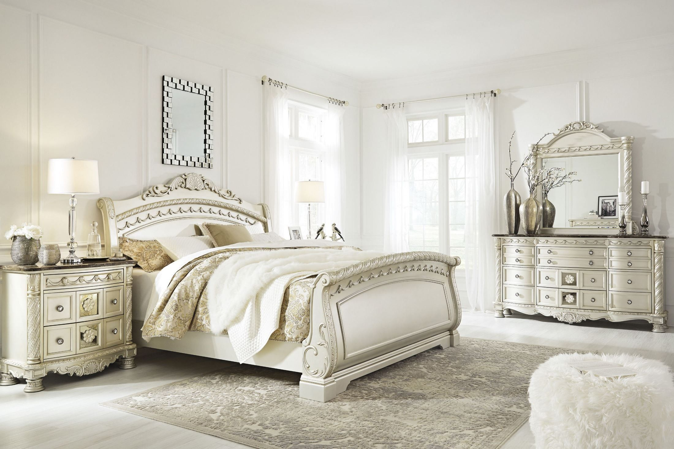 Cassimore North Shore Pearl Silver Queen Sleigh Bed With Images Bedroom Sets Bedroom Set Sleigh Bedroom Set