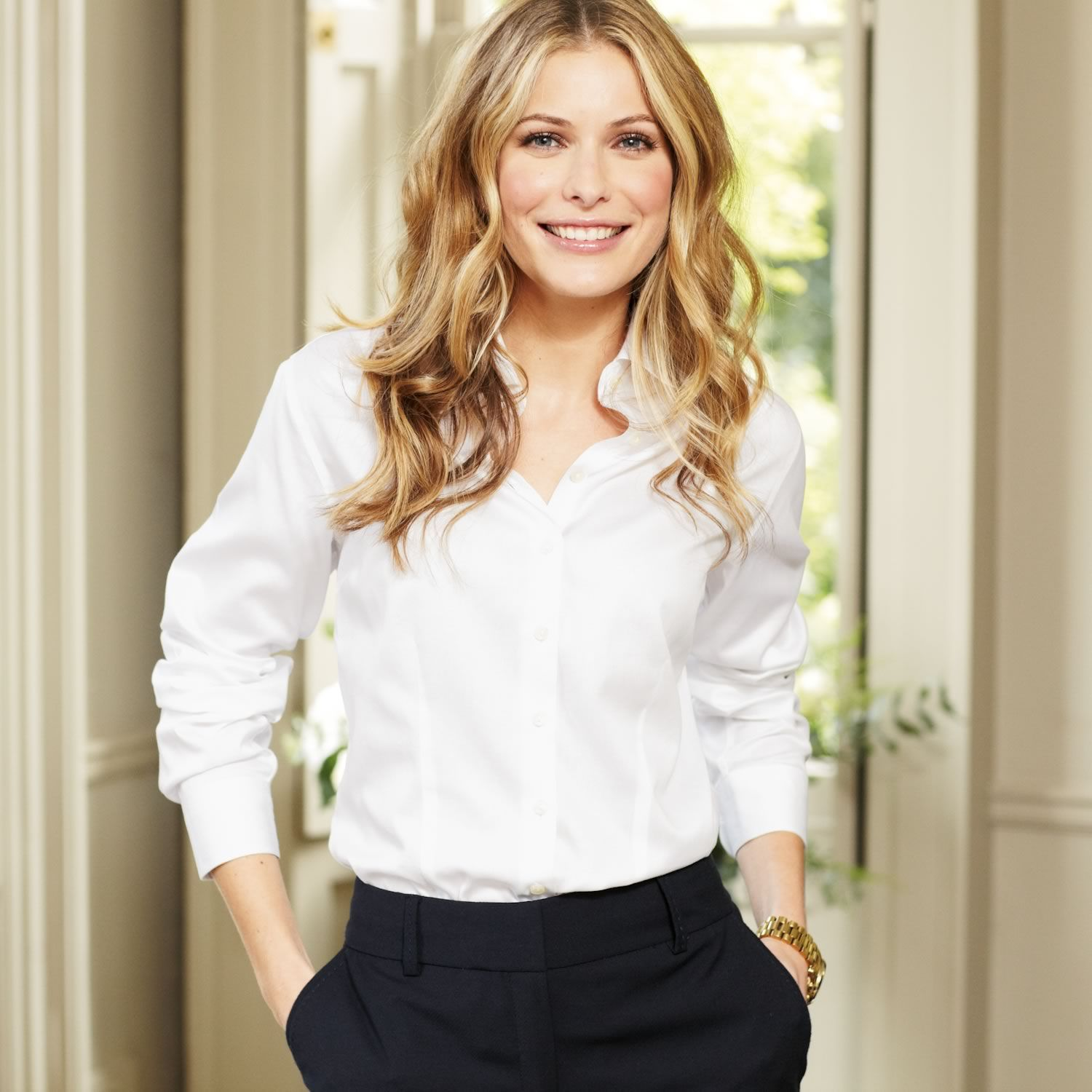 ✭ White Oxford pleated bib front semi-fitted shirt ✭ Women's ...