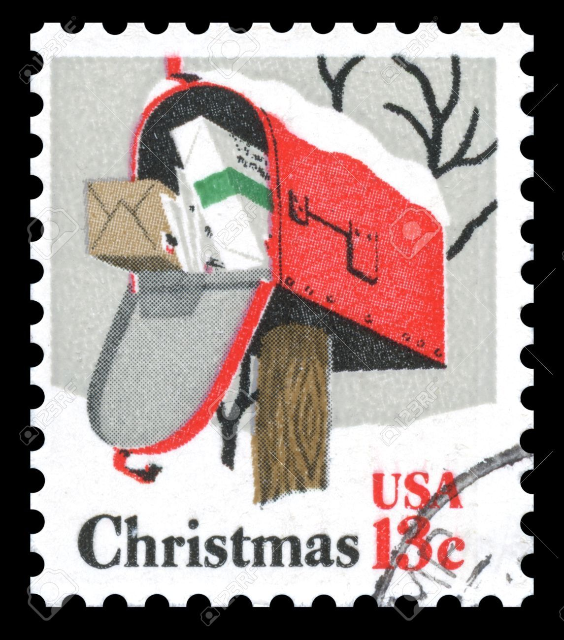 full mailbox. USA Vintage Postage Stamp Showing An Image Of A Mailbox At Christmas Stuffed Full Packages And Parcels Stock Photo