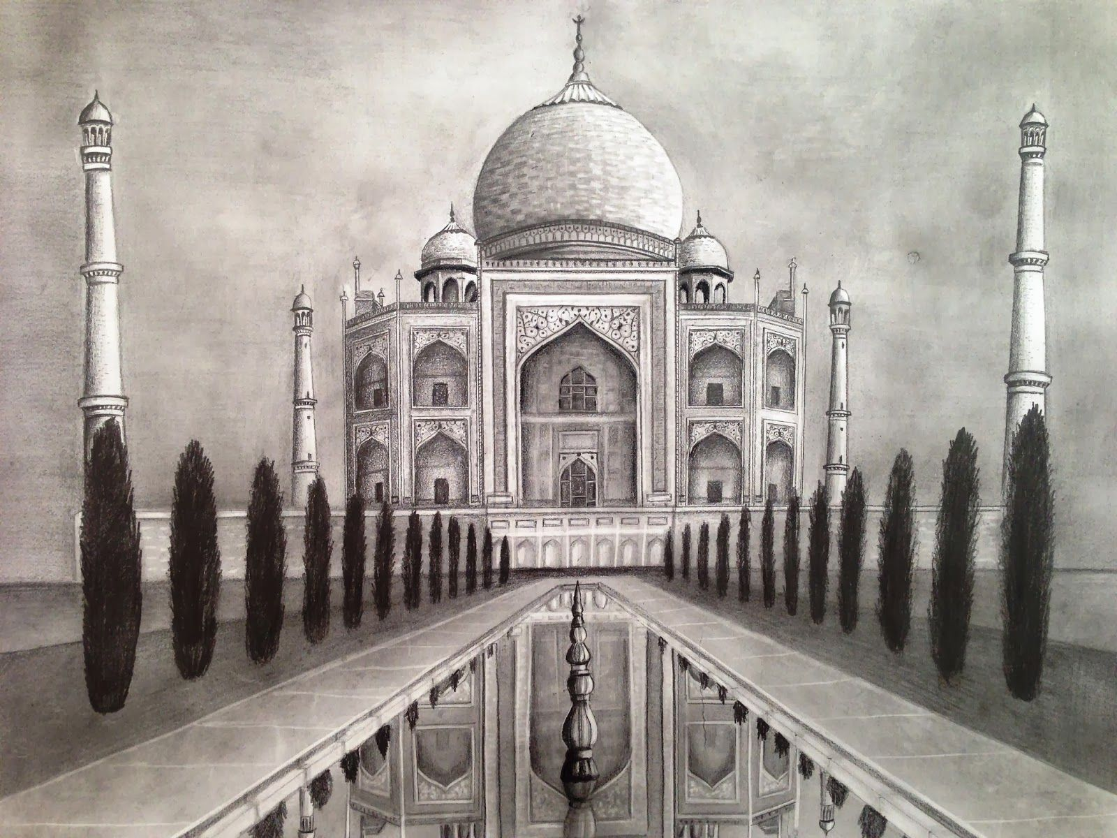 Jpg 1600x1200 pixels taj mahal sketch taj mahal drawing one