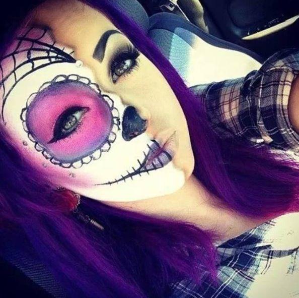 Halloween Makeup half face, dia de Los muertos