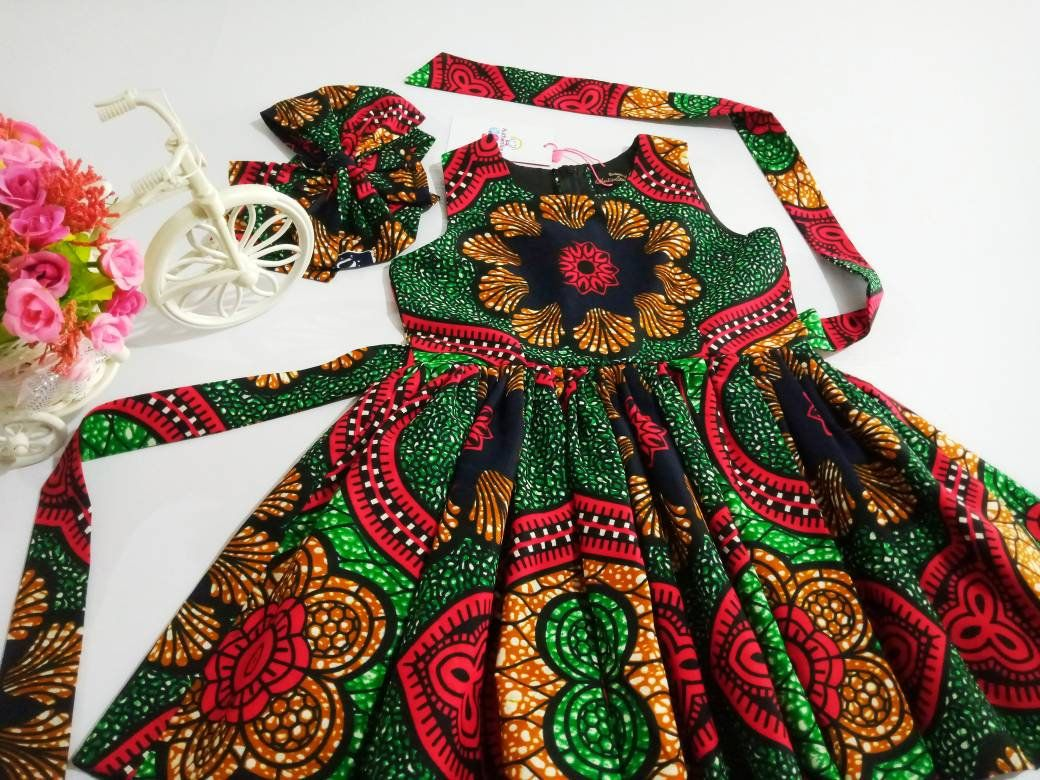 Ankara Girls Dress With Head Wrap Baby Clothes Afr