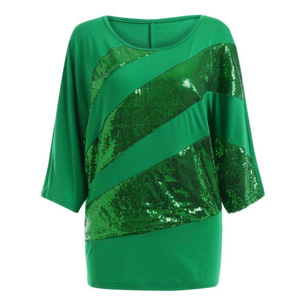 Sequin Embellished Loose Top — 12.78 € --------------------------Size: 2XL Color: GREEN