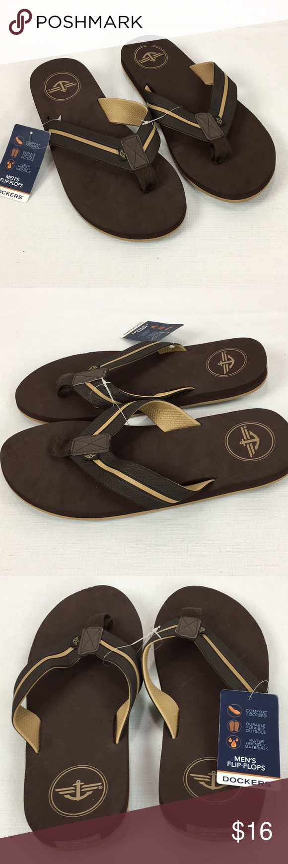 f25bf3aab0cf NWT Dockers Men s Thong Flip Flops Brown Comfort Brand new pair of men s  Dockers flip flops