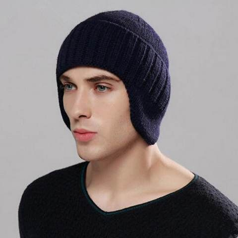Cheap winter beanie hat for men knit hat with ear flaps