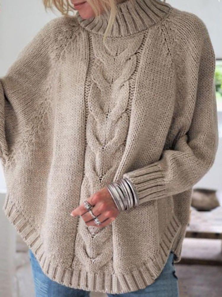 Women Solid Color Irregular Hem Bat Sleeve Knit Sweaters