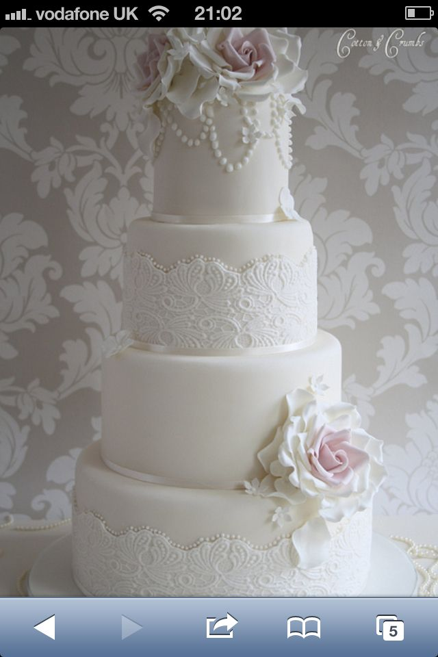 Beautiful Lace And Pearl Wedding Cake Wedding Cakes Pinterest