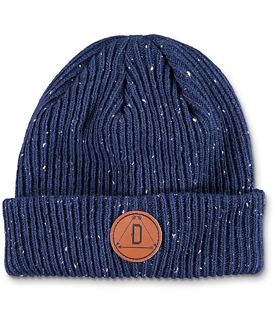17d65477a53 Update your modern style with the Porter navy fold over beanie from Dravus.  This epple dark blue beanie features a leather Dravus circular patch on the  fold ...