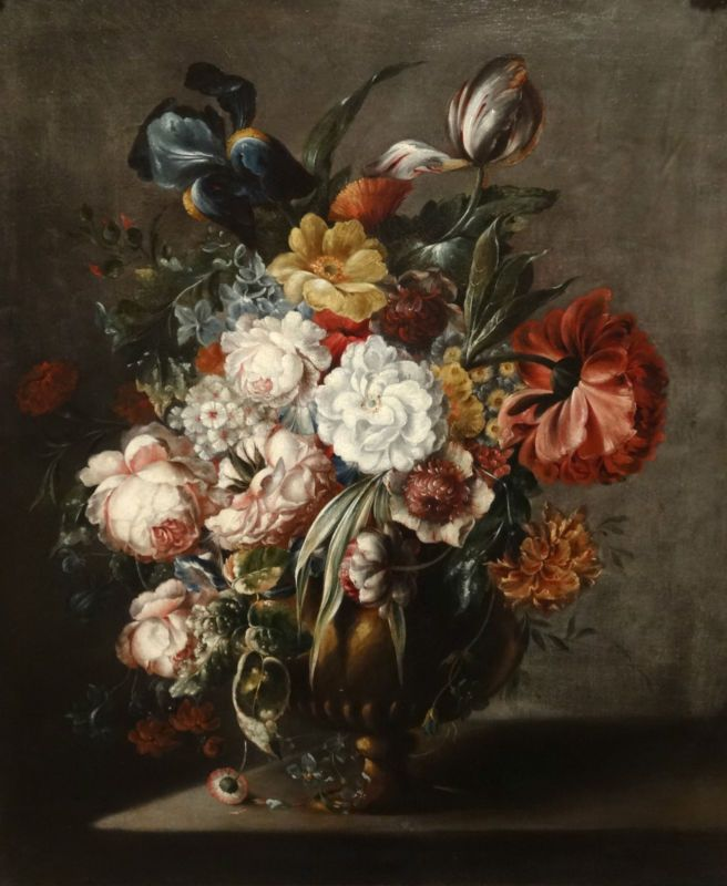 18th Century Painting Roses Flowers Insects Master Dutch Still Life Canvas Print