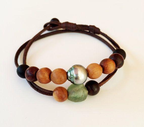 Perle de Tahiti  cuir  bracelet homme par PerlaMundi sur Etsy