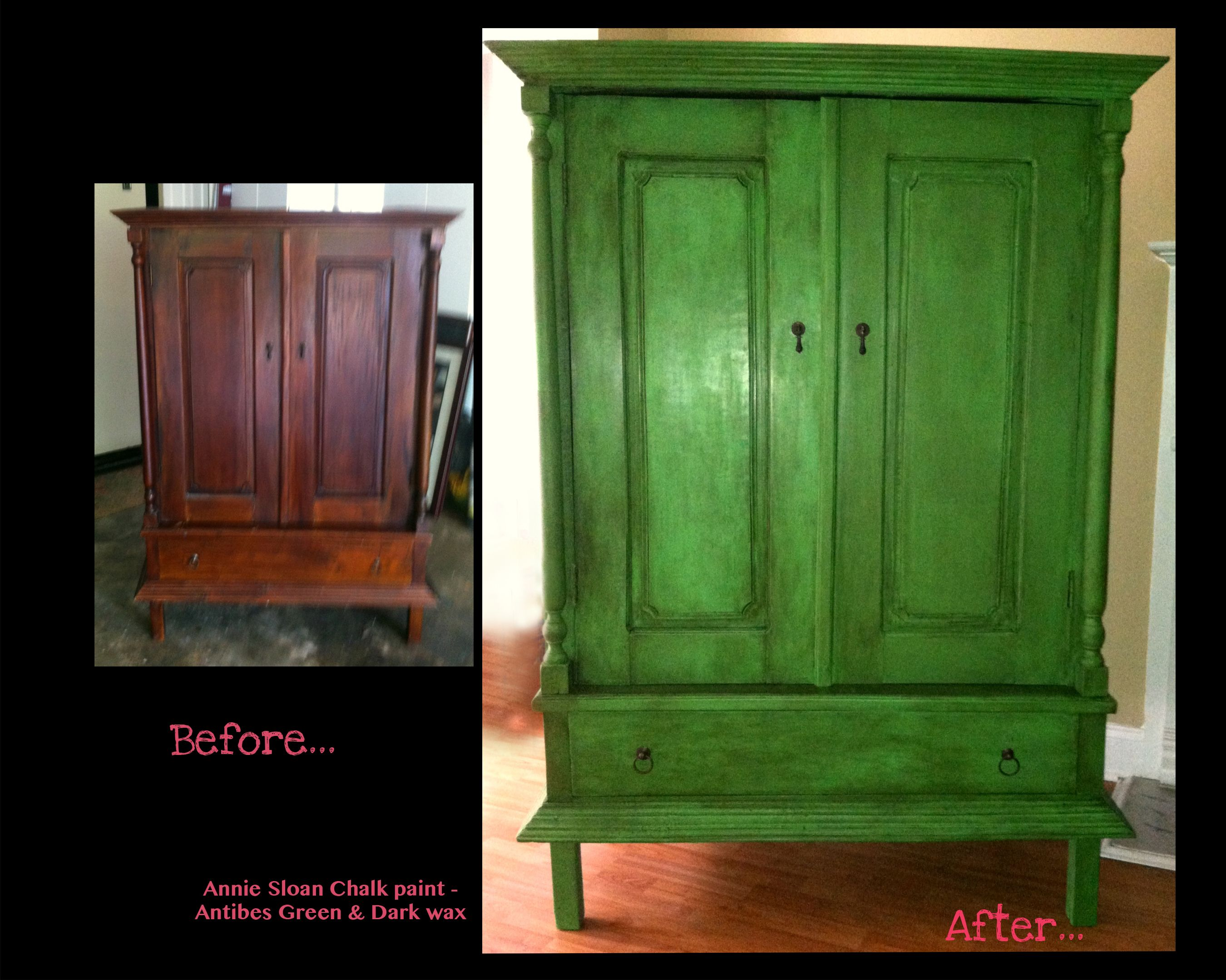 my armoire project before after annie sloan antibes green diy pinterest flure. Black Bedroom Furniture Sets. Home Design Ideas
