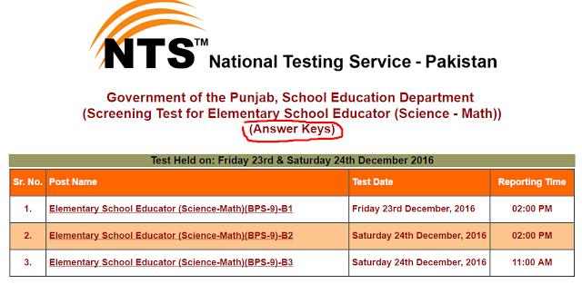 Elementary School Educator (Science - Math)) (Answer Keys ...