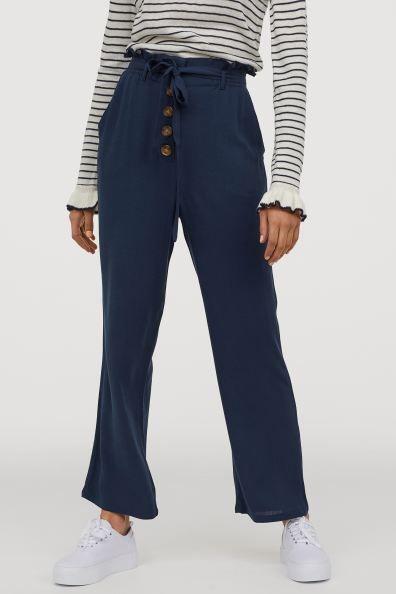 Photo of Pantaloni a sacco di carta – Blu scuro – Donna | H&M MX