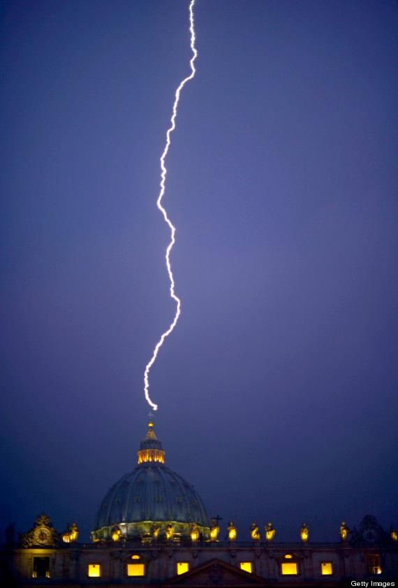 Lightning appeared to strike St. Peter's Basilica in Vatican City on Monday just hours after Pope Benedict XVI announced his resignation, according to the BBC. The lightning strike happened around 6 p.m. local time.