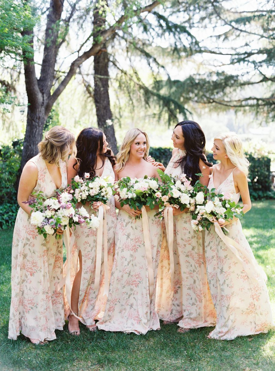 Spring napa valley wedding with floral print bridesmaids floral floral bridesmaids dresses photography jessica burke floral design twigss floral studio ombrellifo Image collections