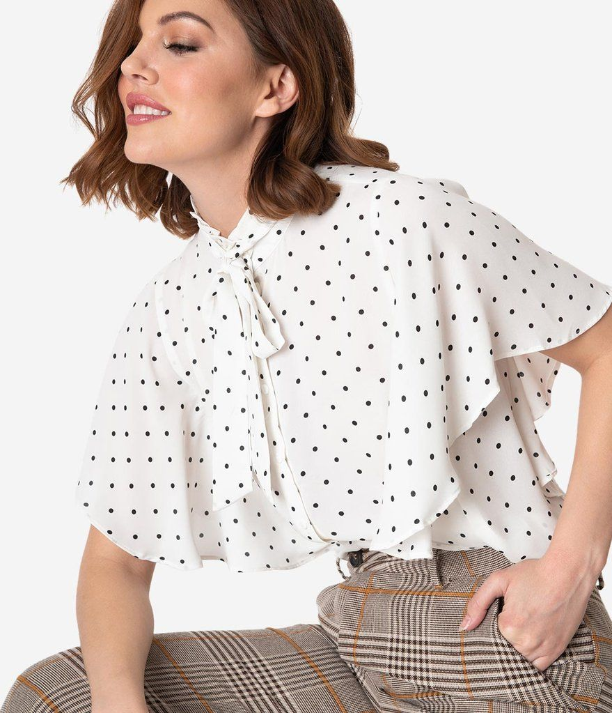 aba86dd9 Vintage Style White & Black Dot Butterfly Sleeve Blouse in 2019 ...