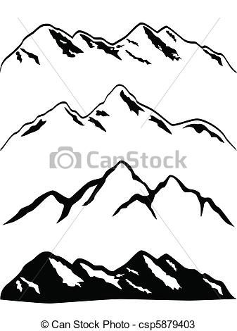 Vectors of Snowy mountain peaks - Various mountains with ...