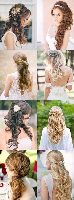 [The one at bottom right, of course. Or possibly the left one on the second row down.] Bridal hairstyles