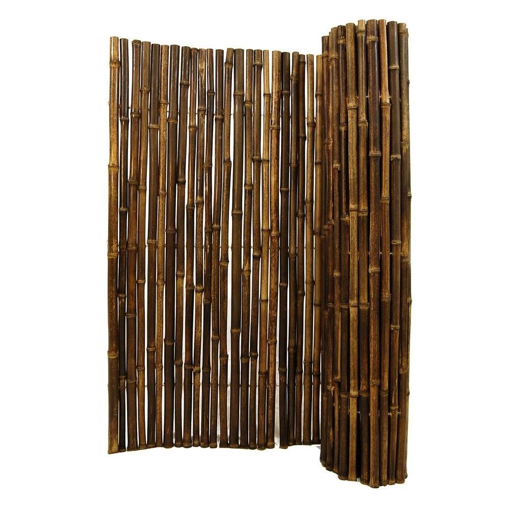 Backyard X Scapes 1 In D X 6 Ft H X 8 Ft W Black Rolled Bamboo Fence Hdd Bf13black At The Home Depot 132 99 Bamboo Fence Bamboo Panels Black Bamboo