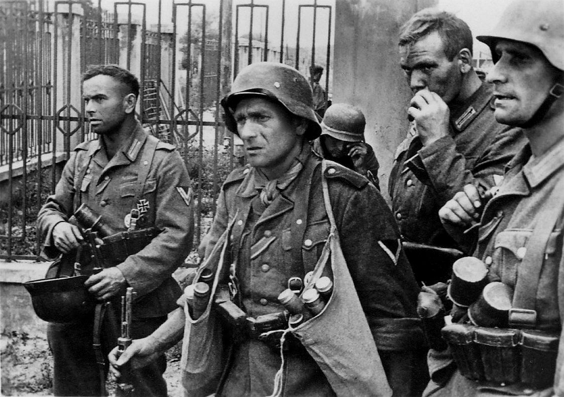 German Wehrmacht soldiers of the 17th Army rest after heavy street fighting in Rostov-on-Don. After concluding the Battle of Kiev in September 1941, German Army Group South advanced from the Dnieper river to the Sea of Azov coast and the 6th Army captured Kharkov (Kharkiv). The 11th Army moved into the Crimea and would take control of all of the peninsula in autumn 1941. The 17th Army marched through Poltava towards Voroshilovgrad and would take Rostov-on-Don in 1942. Rostov-on-Don, Rostov…