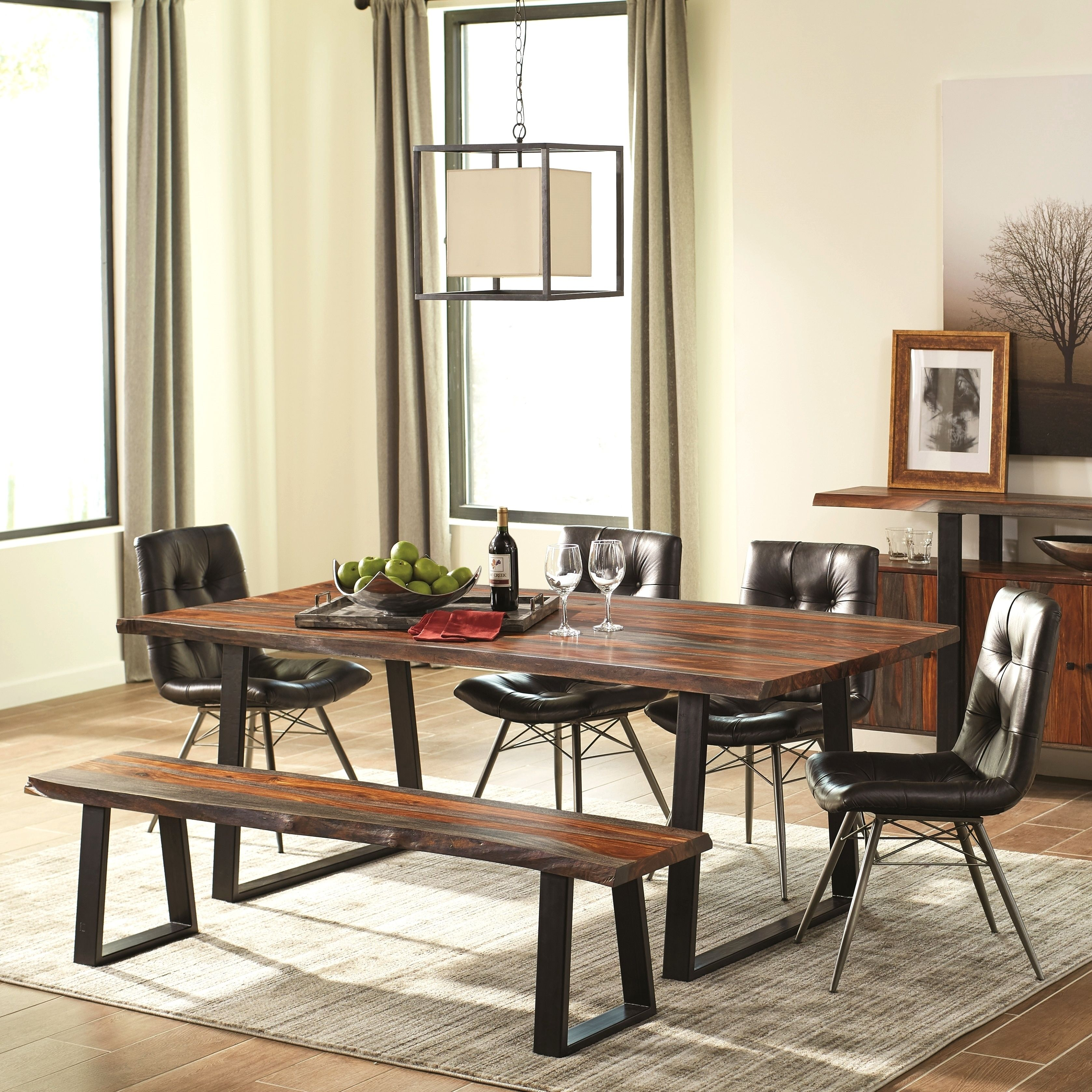 Modern rustic dining room table  Modern Artistic Designed Dining Set with Danish Style Button Tufted