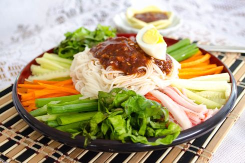 Korean Noodle Plate with Spicy Sauce: Jengban Guksu
