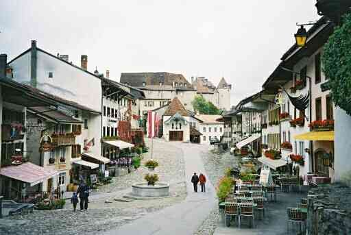 Gruyere, Switzerland.  An amazing walled city that allows no cars.  There are doors to residences that date back to the 1500s,