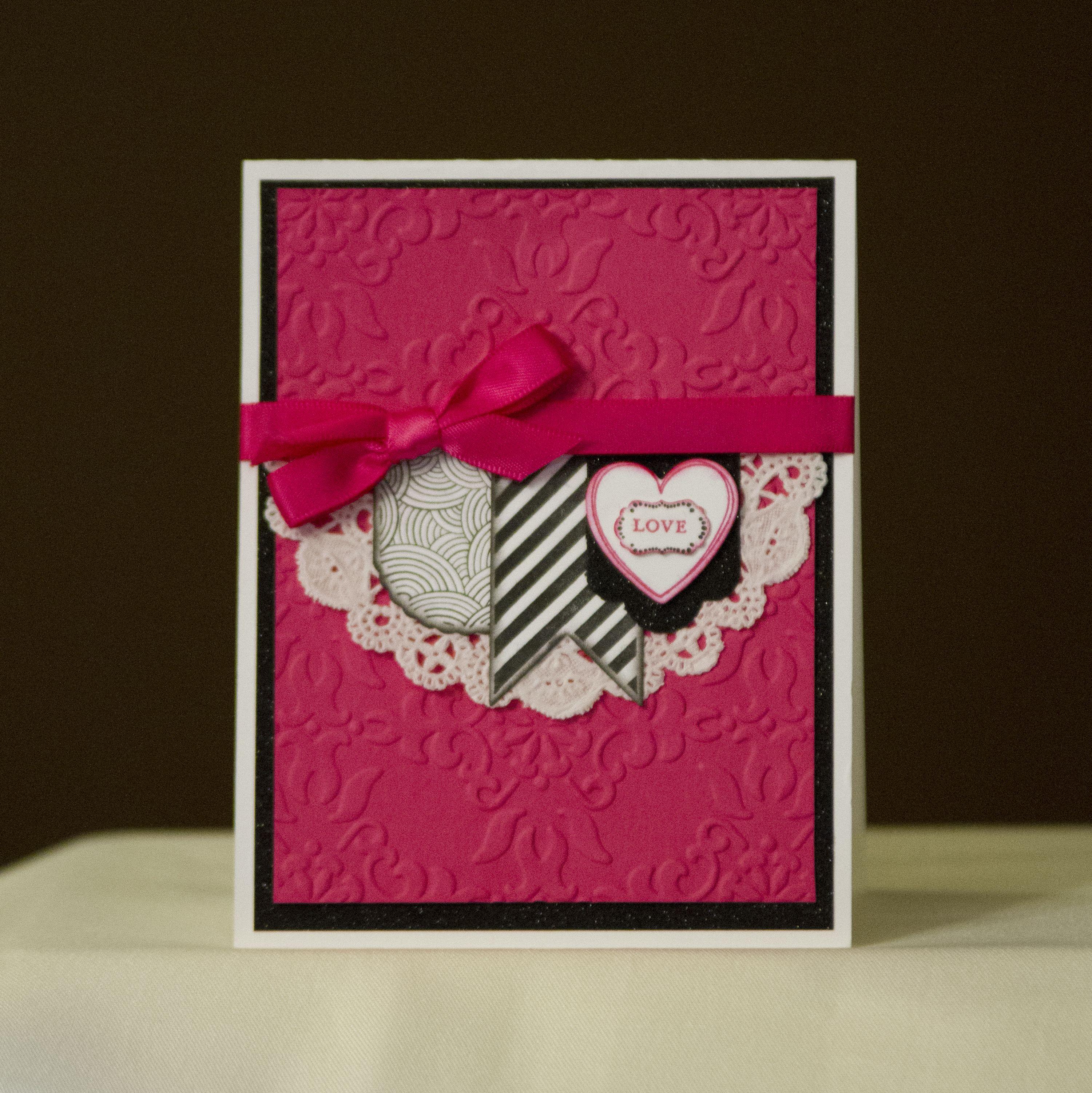 Custom and Handmade Wedding Invitation - Hot Pink, Black and White. #wedding #invitation #custom #handmade #love #doily #onceinalifetime #ido #bride #groom #pnwwedding #weddings #washingtonwedding #washington #rustic #ribbon #emboss  To purchase custom invitations please visit my Etsy store:  www.fmnpaperie.etsy.com