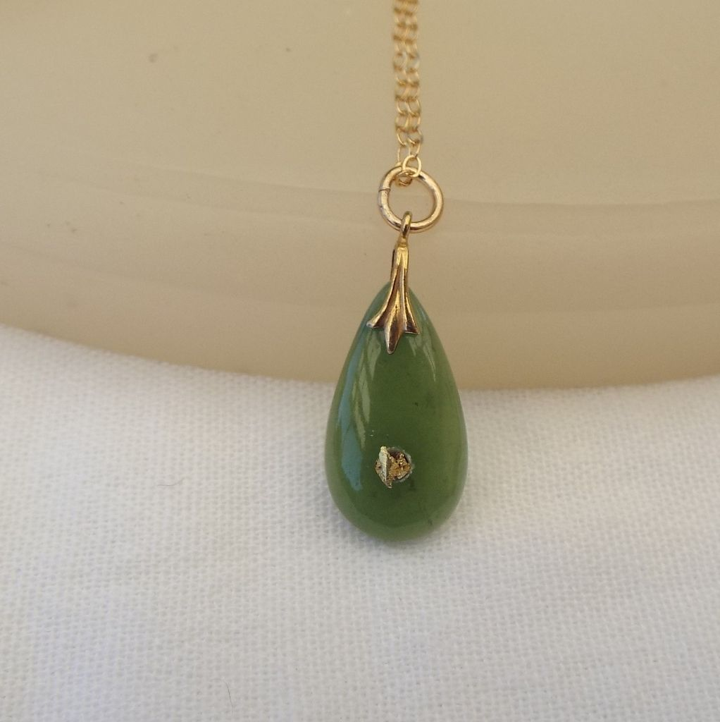 Gold nugget in jade pendant beautiful s treasure gold