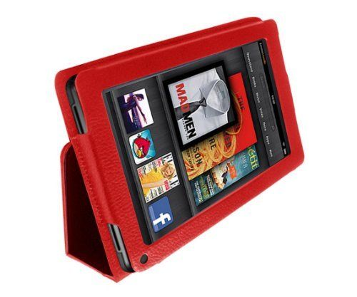 Elsse (TM) Premium Folio Case for Kindle Fire Cover - Red by Elsse. $10.99. Important Please read on if you feel that the case does not stand up correctly. The PU Leather material needs some time to break in. Once it breaks in, the platform that touches the table will lay flat and will have enough support for it to stand up stably. To speed up the process, you can try to push it a little bit down to make sure the entire platform touches the table. In a day or two, ...