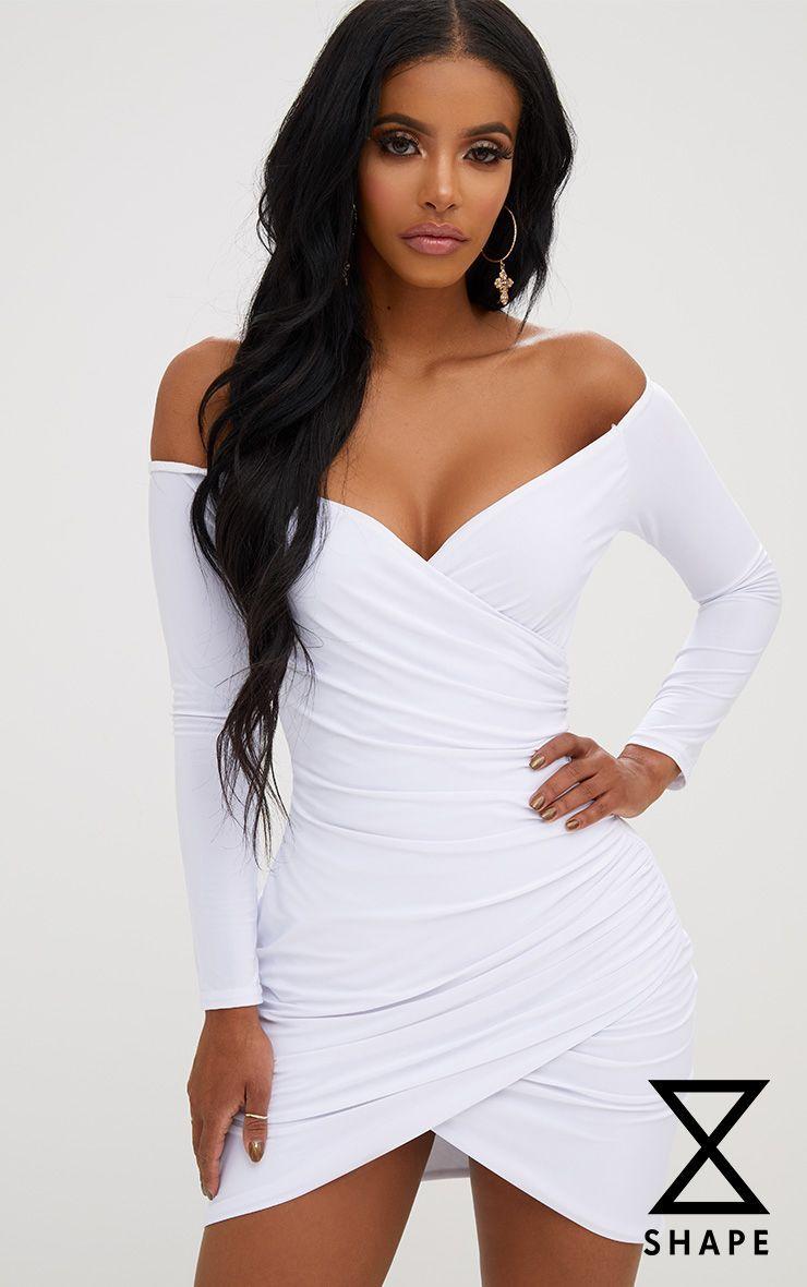 f01d8f957 Shape White Ruched Bardot Bodycon Dress White Bardot Dress, Sexy White Dress,  Elegant White