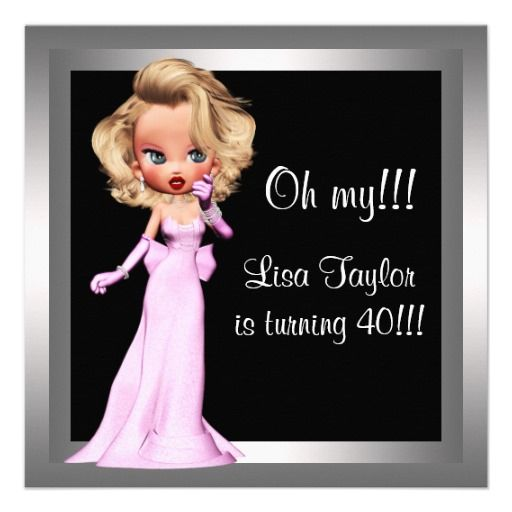 Fun diva womans birthday party invitation 40th birthday fun diva womans 40th birthday party invitation stopboris Image collections