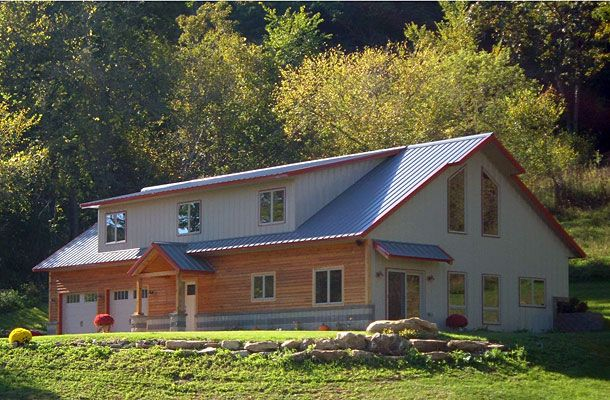 Residential metal building home w timber wainscot hq for Residential pole barn