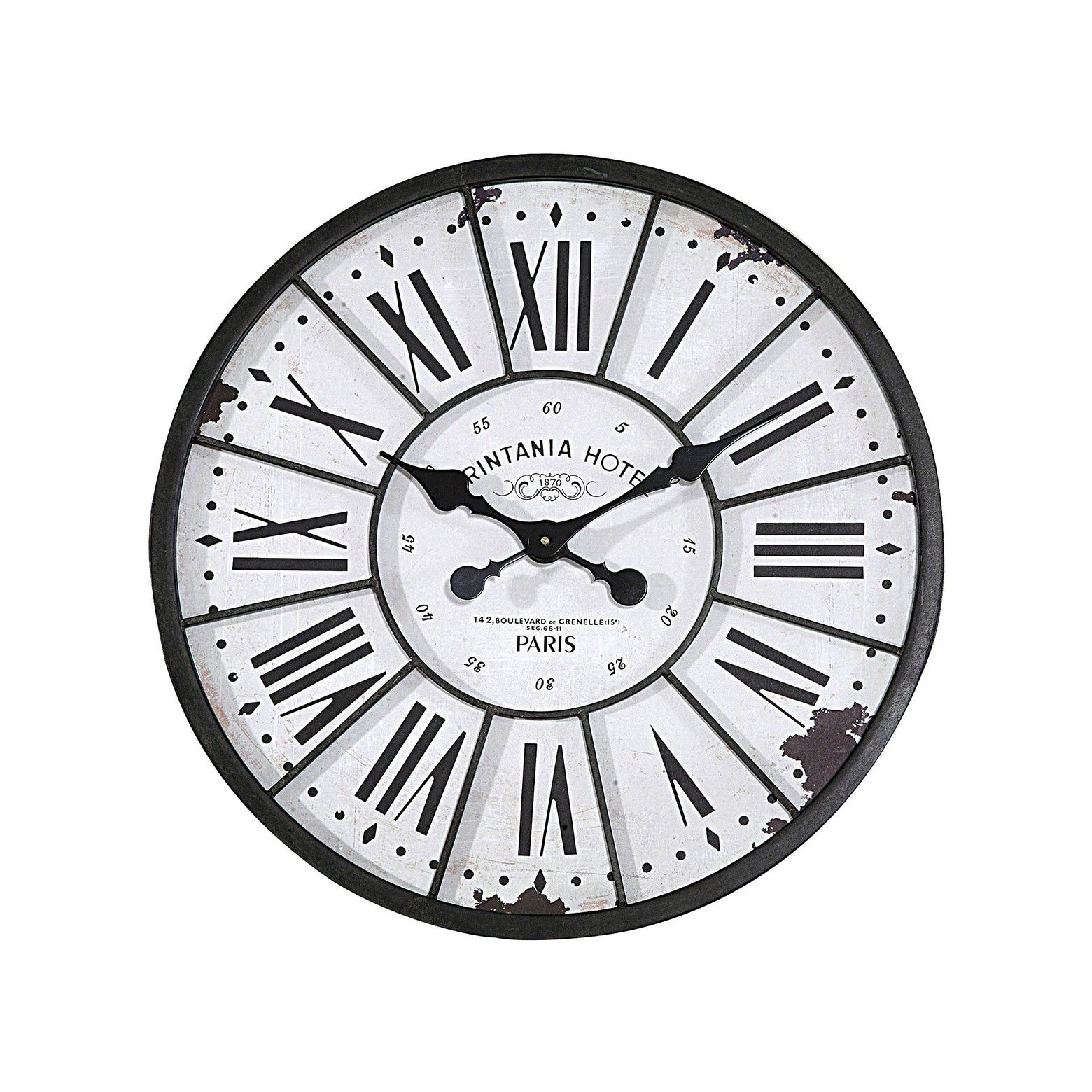 24 Round Metal Wood Wall Clock White 3r Studios White Wall Clocks Metal Wall Clock Wall Clock
