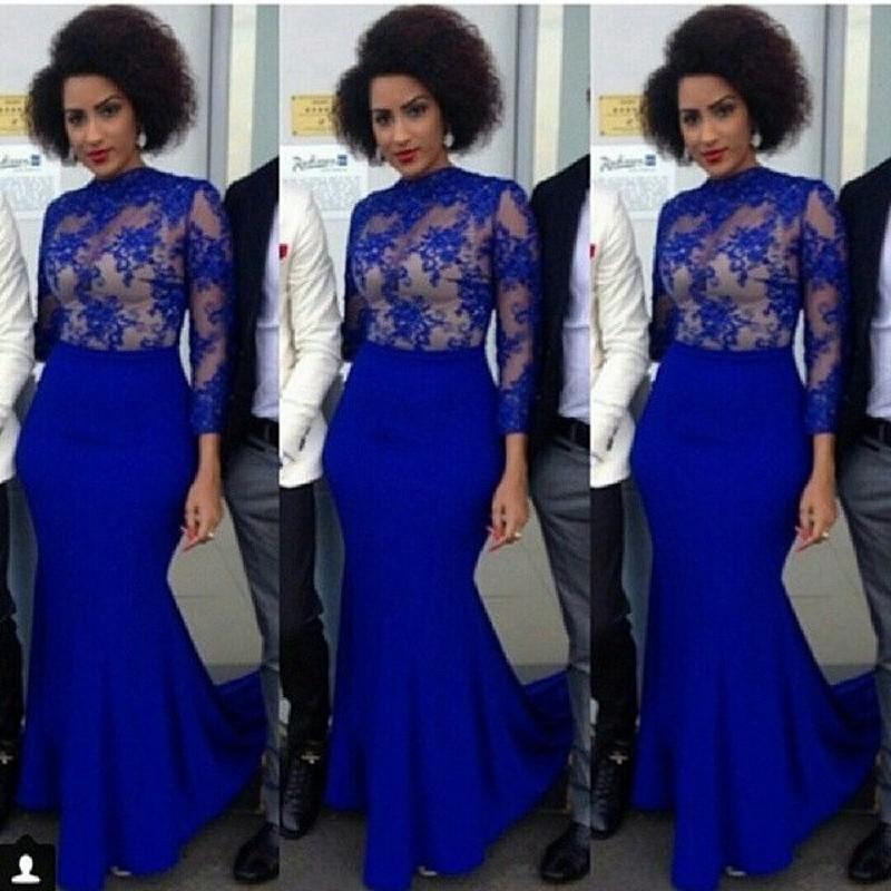 Elegant Royal Blue Evening Dresses 2016 Aso Ebi Style Mermaid High Neck Long Sleeve Pleats Sweep